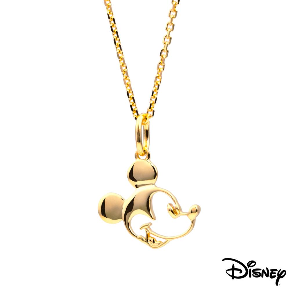 Disney迪士尼金飾 經典米奇18K金墜子-黃 送14K金項鍊