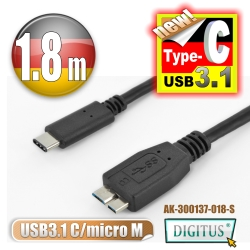 曜兆DIGITUS USB Type-C(公)轉micro USB(公)互轉線-1.8公尺