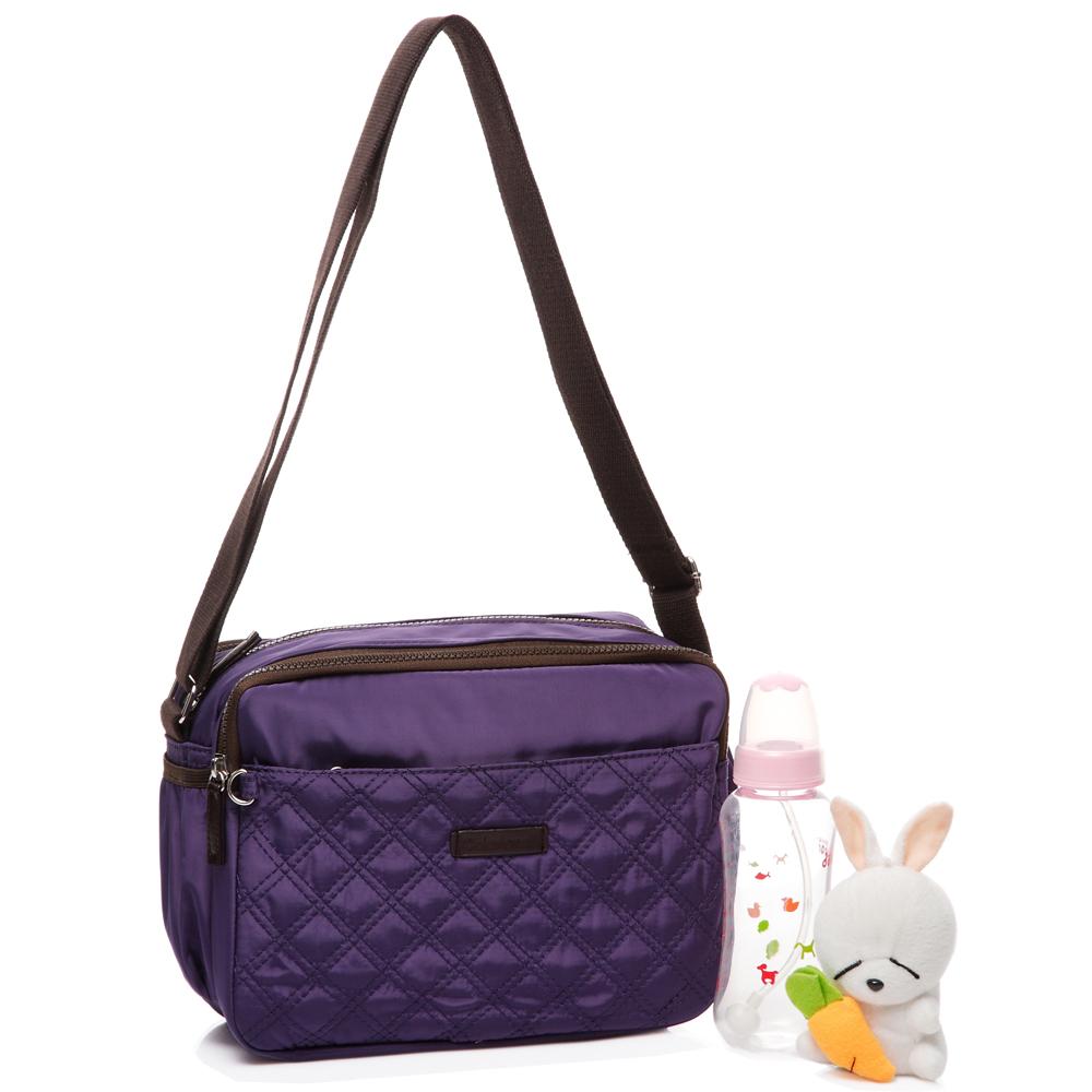 Colorland 高雅格紋空氣多功能斜背媽媽包-紫色