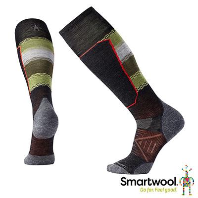 SmartWool PhD滑雪輕量菁英避震印花高筒襪黑