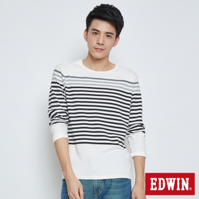 EDWIN 自在休閒條紋長袖T恤-男-白色