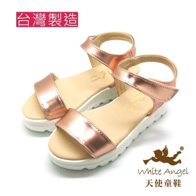 天使童鞋-J 830  經典不敗一字厚底涼鞋-優雅金