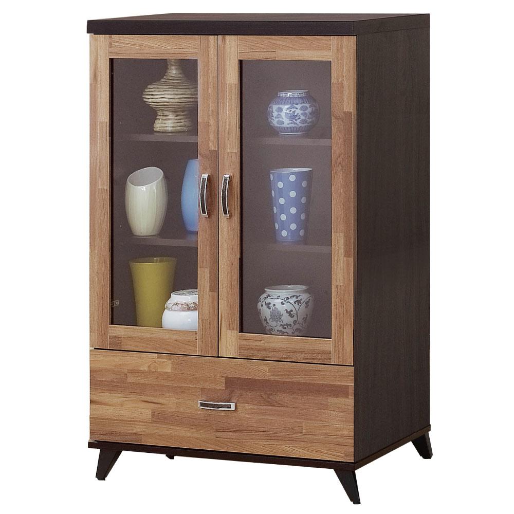 品家居 沛斯2.6尺木紋雙色展示櫃/收納櫃-80x40x121.5cm-免組