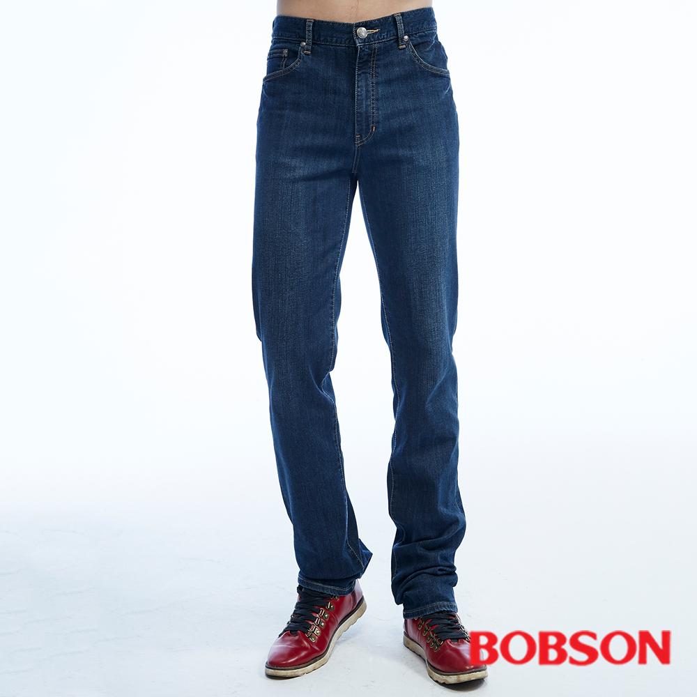 BOBSON   男款保暖高腰膠原蛋白直筒褲-藍色