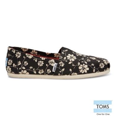 TOMS 花朵 黑 經典懶人鞋