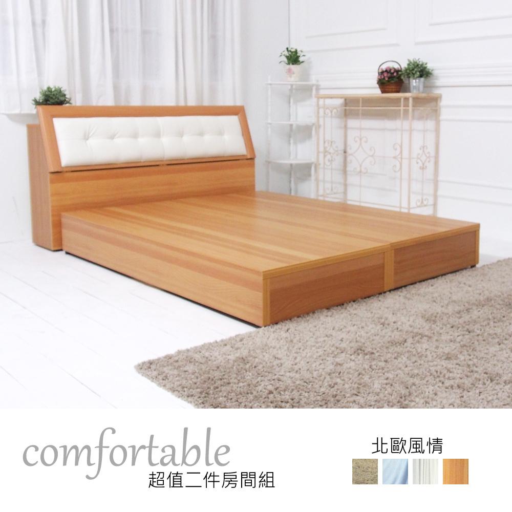 時尚屋 艾達北歐床箱型2件房間組-床箱 床底-免組