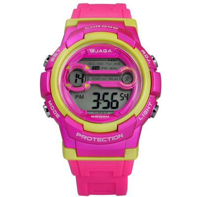 JAGA 捷卡 搶眼青春活力電子運動橡膠手錶-桃黃色/39mm