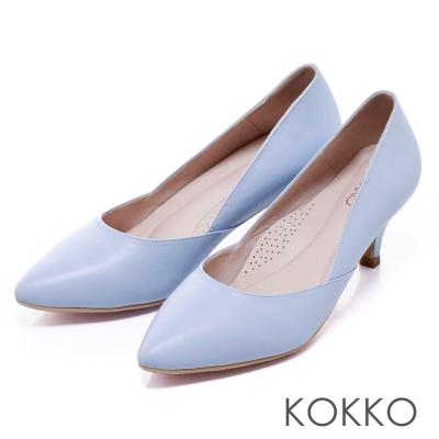 KOKKO台灣手工都會簡約尖頭素面高跟鞋寧靜藍