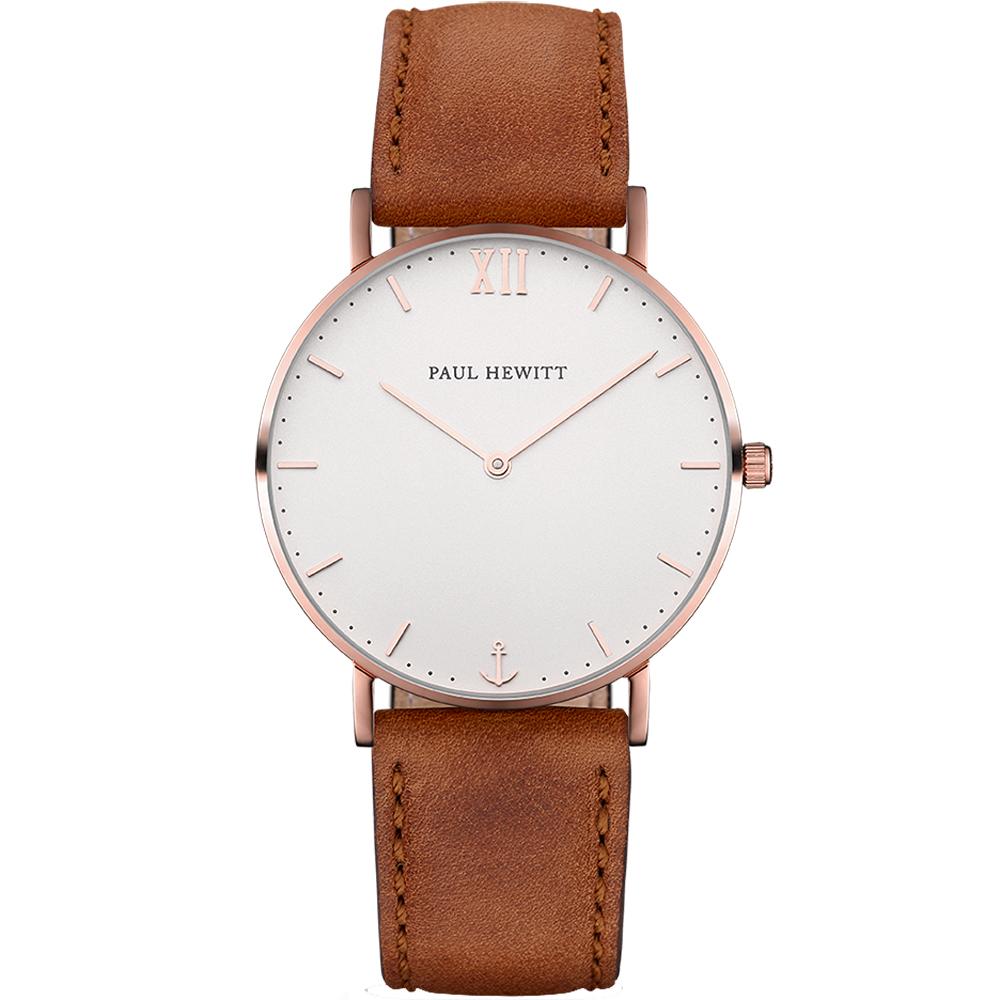 PAUL HEWITT SailorLine船錨風尚皮革腕錶-白X玫瑰金框/36mm