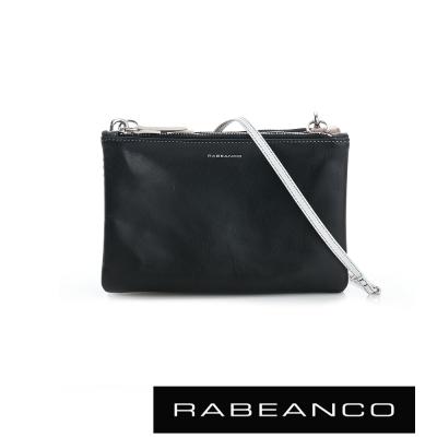 RABEANCO 三撞色鍊帶拉鍊牛皮小包 黑X膚X白