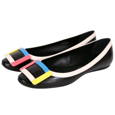 Roger Vivier Gommette 彩色方框小牛皮平底芭蕾鞋(黑色)