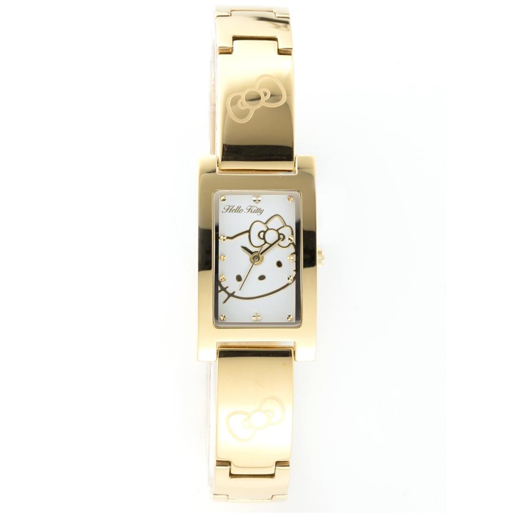 HELLO KITTY 凱蒂貓秀氣質感流行手錶-金x白/19mm