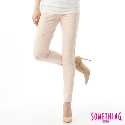 SOMETHING 窄直筒 LADIVA合身色褲-女-淡粉紅