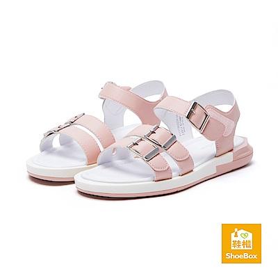 達芙妮DAPHNE ShoeBox系列 涼鞋-幾何鞋跟繞踝休閒涼鞋-淺粉紅