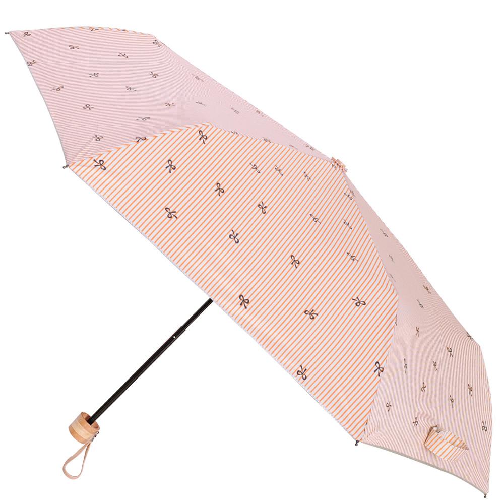 2mm 銀膠抗UV 蝴蝶結條紋輕量手開傘 (橘色)