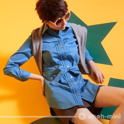 【ohoh-mini 孕婦裝】可拆式假披肩哺乳襯衫