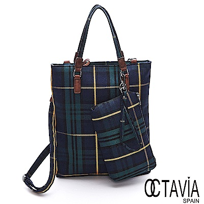 OCTAVIA 8 - 格紋瘋 藍綠格子A4雜誌包1+1-藍加綠