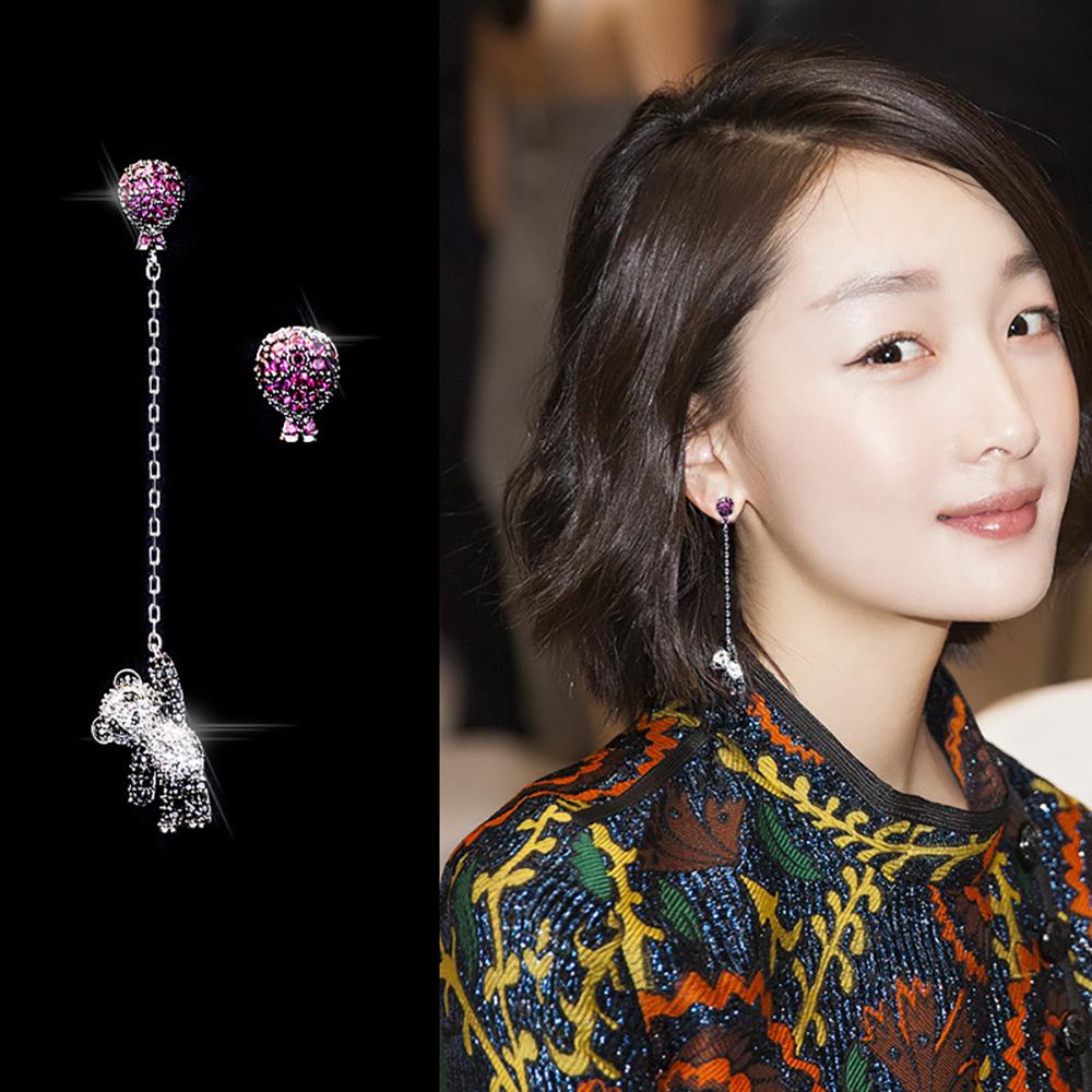 梨花HaNA 韓國S925銀針小熊貓拉氣球水鑽耳環