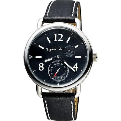 agnes b. Journey 新世界航海小秒針腕錶-黑/40mm