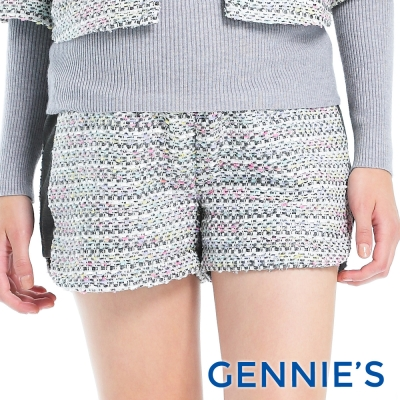 Gennies專櫃-經典小香風毛呢一體成型短褲(T4A48)-白