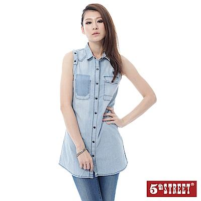 5th STREET 牛仔長版襯衫洋裝-女-漂淺藍