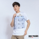 BIG TRAIN 鯉魚條紋圓領T-男-白色
