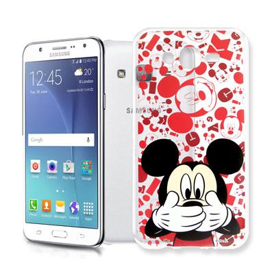 迪士尼 Samsung Galaxy J7 大頭透明手機軟殼(摀嘴米奇)