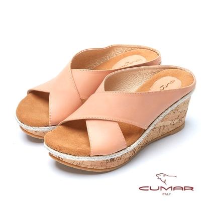 CUMAR台灣製造蝴蝶扭結真皮楔型涼鞋-桔色