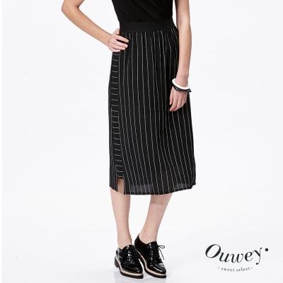 OUWEY歐薇-時尚條紋側拼接長裙