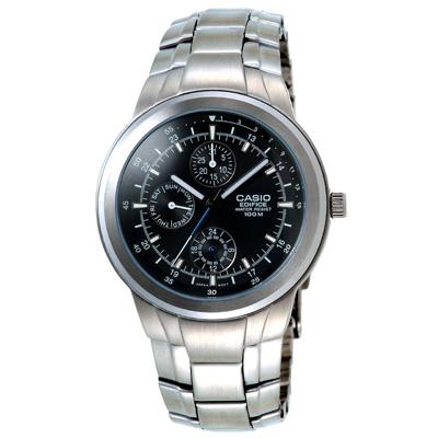 EDIFICE系列-優雅紳士多功能腕錶-EF-305D-1A-黑-40mm