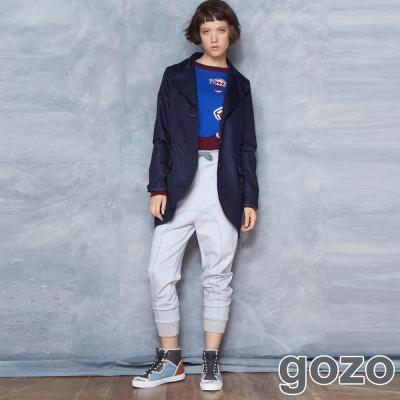 gozo-線條配色綁帶造型縮口棉褲-灰色