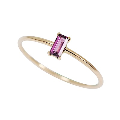 agete日本精品珠寶 方形粉色石榴石K10金色戒指