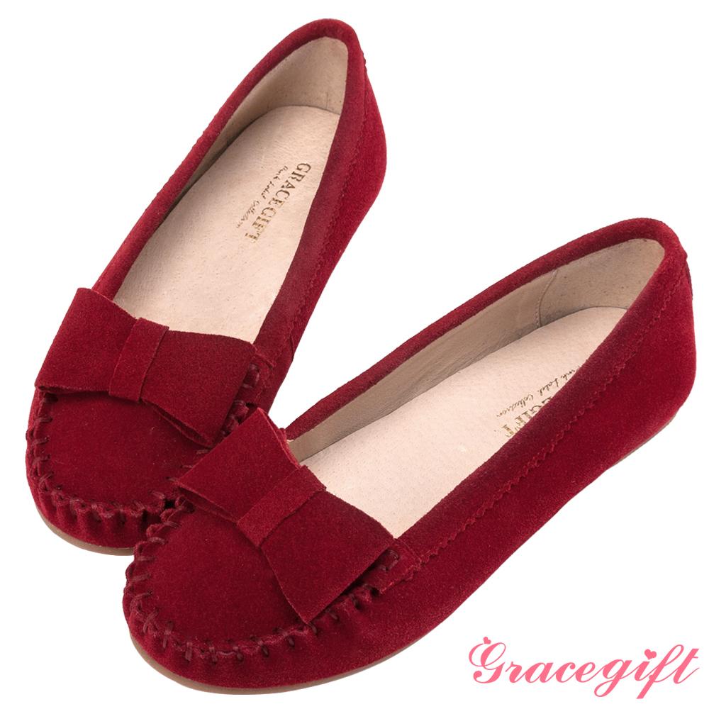 Grace gift-真皮立體蝴蝶結莫卡辛鞋 紅