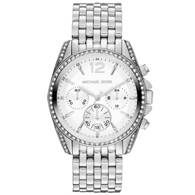 Michael Kors Pressley 純粹思維計時晶鑽腕錶-白/39mm