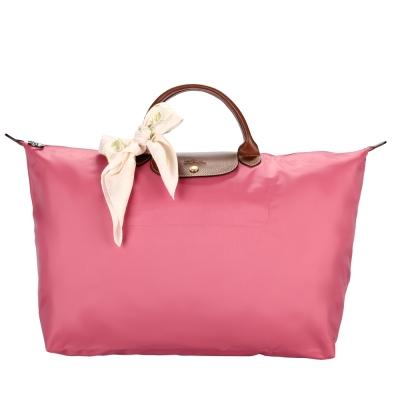 Longchamp 折疊大型水餃包(短提把/牡丹粉)-加贈帕巾