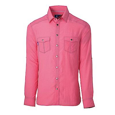 【Wildland 荒野】男RE雙色抗UV長袖襯衫粉紅