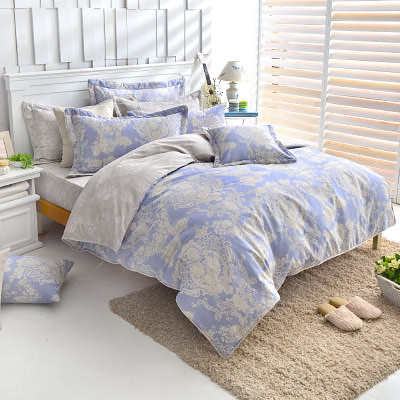 Grace Life 甜蜜戀香-藍 精梳純棉單人全鋪棉床包兩用被三件組