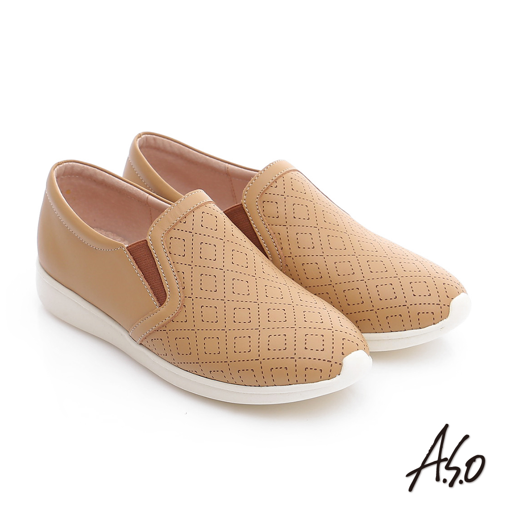 A.S.O 樂福氣墊 全真皮奈米菱格壓紋休閒鞋 卡其