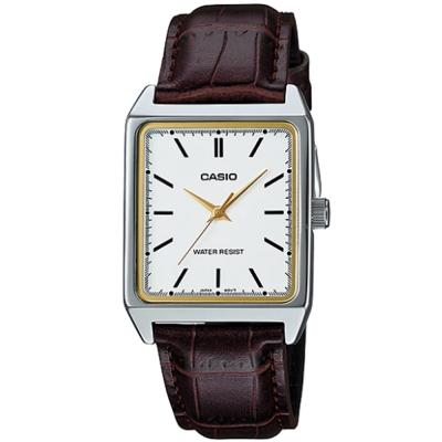 CASIO 經典時尚簡約方款指針腕錶-咖啡X白面(MTP-V007L-7E2)/40mm