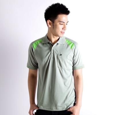 【遊遍天下】男款抗UV吸濕排汗機能POLO衫NS005灰/綠