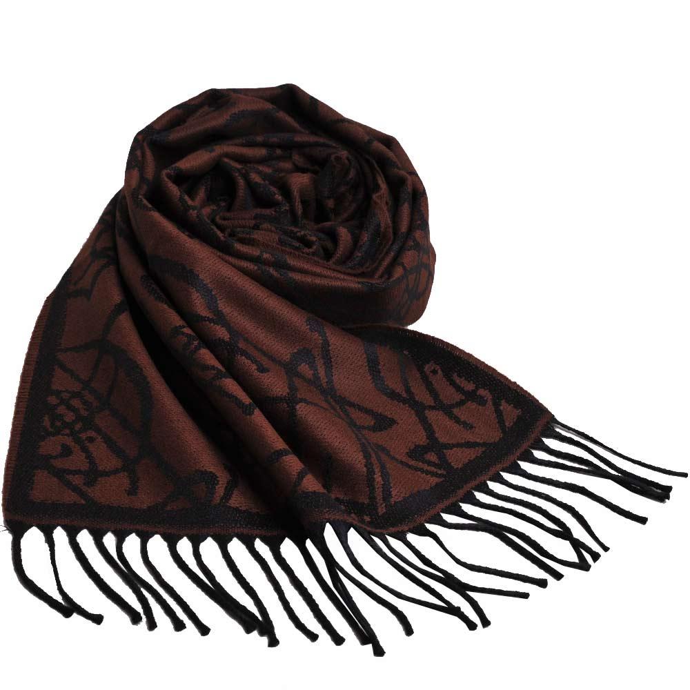 VIVIENNE WESTWOOD 行星LOGO恆星圖騰風格寬版圍巾/披肩(黑/咖啡底)