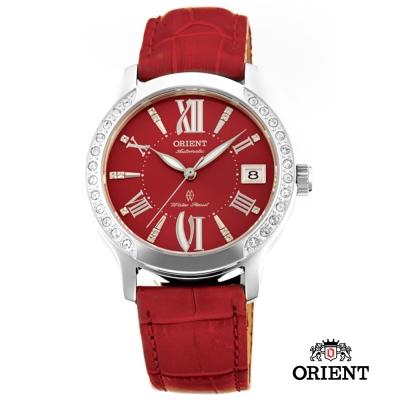 ORIENT 東方錶 ELEGANT系列 優雅鑲鑽機械女錶-紅色/36mm
