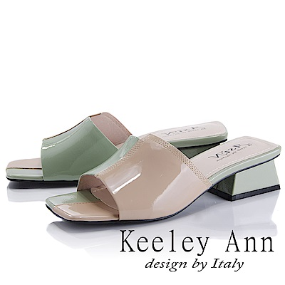 Keeley Ann 衝擊玩酷~大方撞色粗中跟拖鞋(粉紅色-Asin系列)