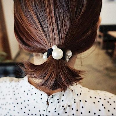 Hera 赫拉 2018爆款手工釘大小珍珠髮圈/髮束黑色