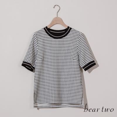 beartwo-小格紋圓領金蔥滾邊上衣-共二色