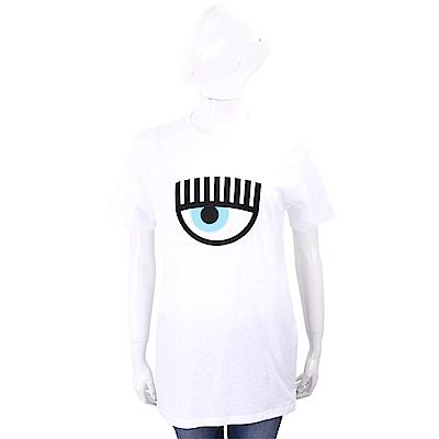 Chiara Ferragni 經典大眼刺繡白色棉質長版T恤