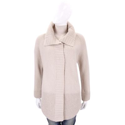 Max Mara-WEEKEND 卡其色織紋拼接羊毛針織外套(100%WOOL)