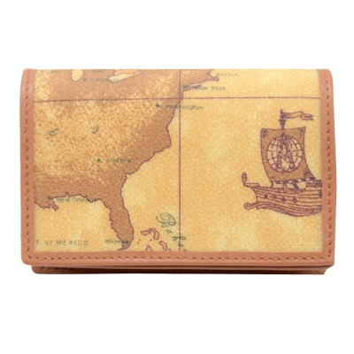 Alviero Martini 義大利地圖包 經典厚式名片夾(小)-地圖黃