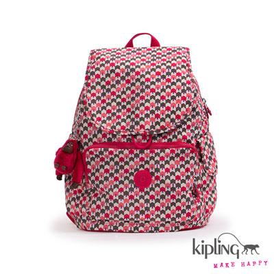 Kipling-後背包-繽紛桃粉箭羽印花