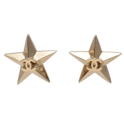 CHANEL-經典雙C-LOGO立體五角星針式耳環-金
